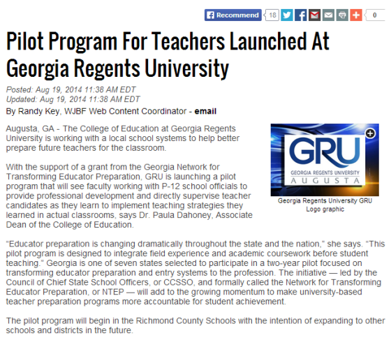Pilot Program For Teachers Launched At Georgia Regents University